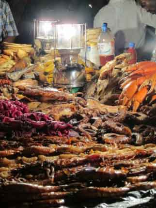 Seafood closeup at night market in Stone Town